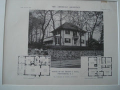 House of Dr. Henry C. Hall, Providence RI, 1916. Eleazer B. Homer. Lithograph