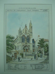 Park Hill Congregational Church in Nottingham, England, 1882. J. Tait & J. Langham. Original