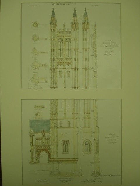 Details of Memorial Tower of the Freshman Dormitories  1909 Frank Miles Day Original Plan