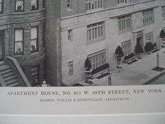 Apartment House, No. 311 W. 89th St., New York NY, 1915. Wallis & Goodwillie. Lithograph