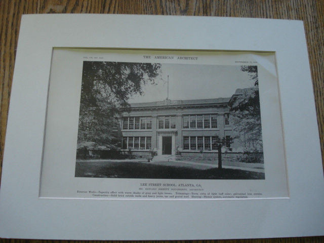 Lee Street School, Atlanta, GA. 1916. Edward Emmett Dougherty. Lithograph