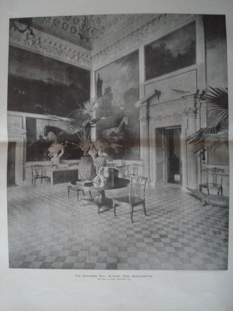 Entrance Hall: Althorp Park,  Northhampton, England, 1893. Photogravure