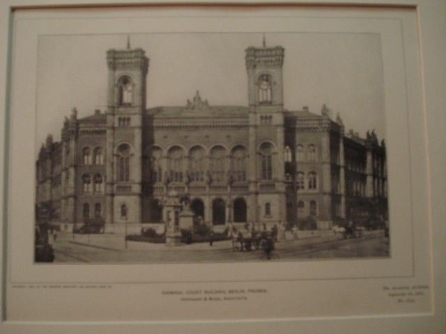 Criminal Court Building, Berlin, Prussia, 1901. Herrmann & Busse. Lithograph