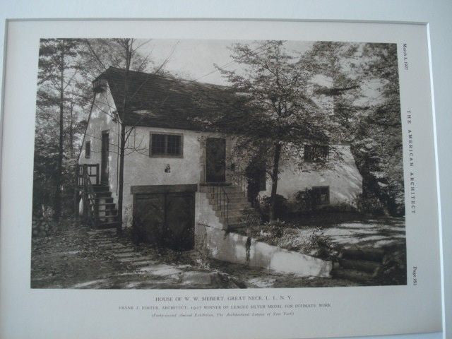 House of W. W. Siebert, Great Neck, Long Island NY, 1927. Frank J. Foster. Lithograph