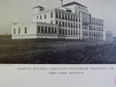 Hospital Building, Eagleville Sanatorium, Eagleville, PA, 1928, Lithograph