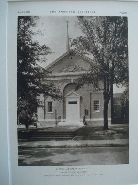 Church, Greensboro NC, 1927. Hobart Upjohn. Lithograph