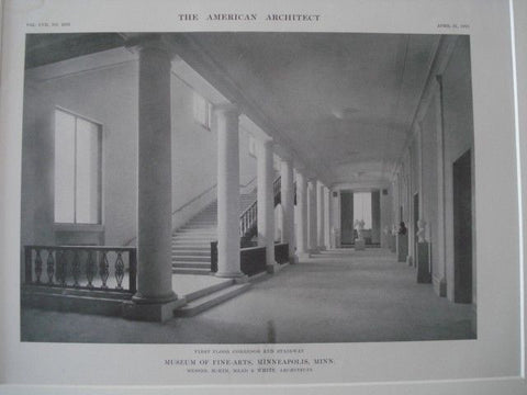 Corridor & Stairway: Museum of Fine-Arts, Minneapolis MN, 1915. McKim, Mead & White