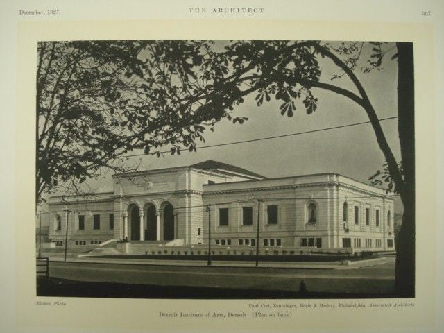 Exterior, Detroit Institute of Arts. Detroit MI, 1927. Paul Cret, Zantzinger, Borie & Medary