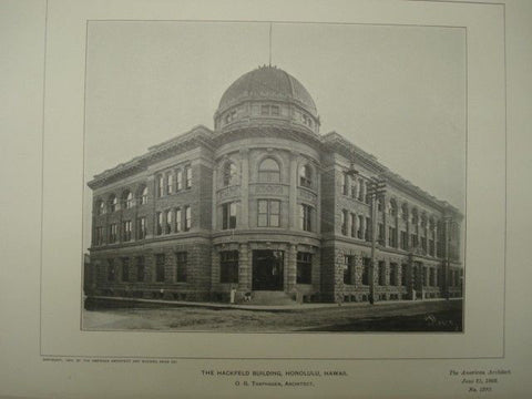 Hackfield Building in Honolulu HI, 1902. O. G. Traphagen. Photograph