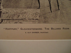 Billiard Room: Hartpury, Gloucestershire, England, 1898. E. Guy Dawber. Lithograph