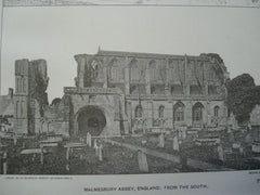 Malmesbury Abbey, Wiltshire, England, 1901. Unknown Archt. Lithograph