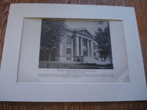 Side view: Converse County Court House, Douglas, WY, 1916. W.N. Bowman. Lithograph