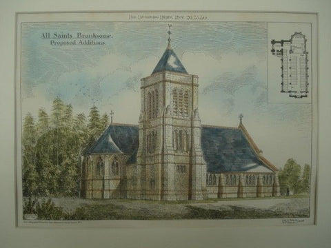 Additions to All Saints Church in Branksome, Dorset, England, 1880. Cole A. Adams & H. P. Horner