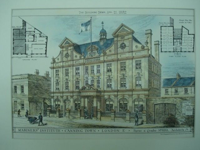 Mariners' Institute in Canning Town, England, 1882. Byrne & Crombie. Original Plan