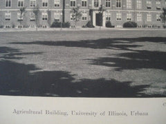 Agriculture Building, University of Illinois in Urbana IL, 1927. Charles A. Platt. Lithograph