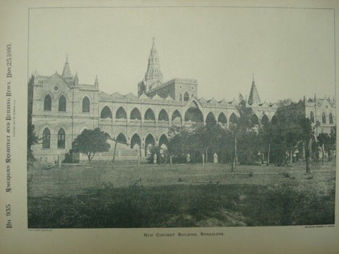New Convent Building in Bangalore, India, 1893. Unknown Archt. Photograph