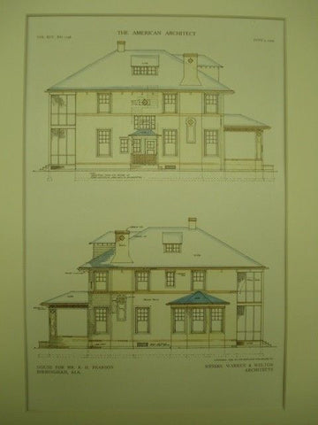 House for Mr. R. H. Pearson in Birmingham AL. 1909. Warren & Welton. Original Plan