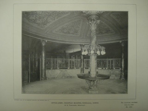 Office-Lobby at the Hackfield Building, Honolulu HI, 1902. O. G. Traphagen. Photogravure