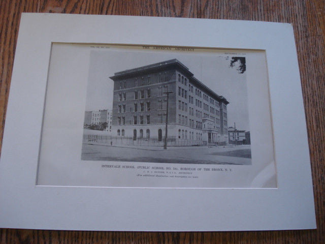 Intervale School, Borough of the Bronx NY, 1916. C.B.J. Snyder. Lithograph