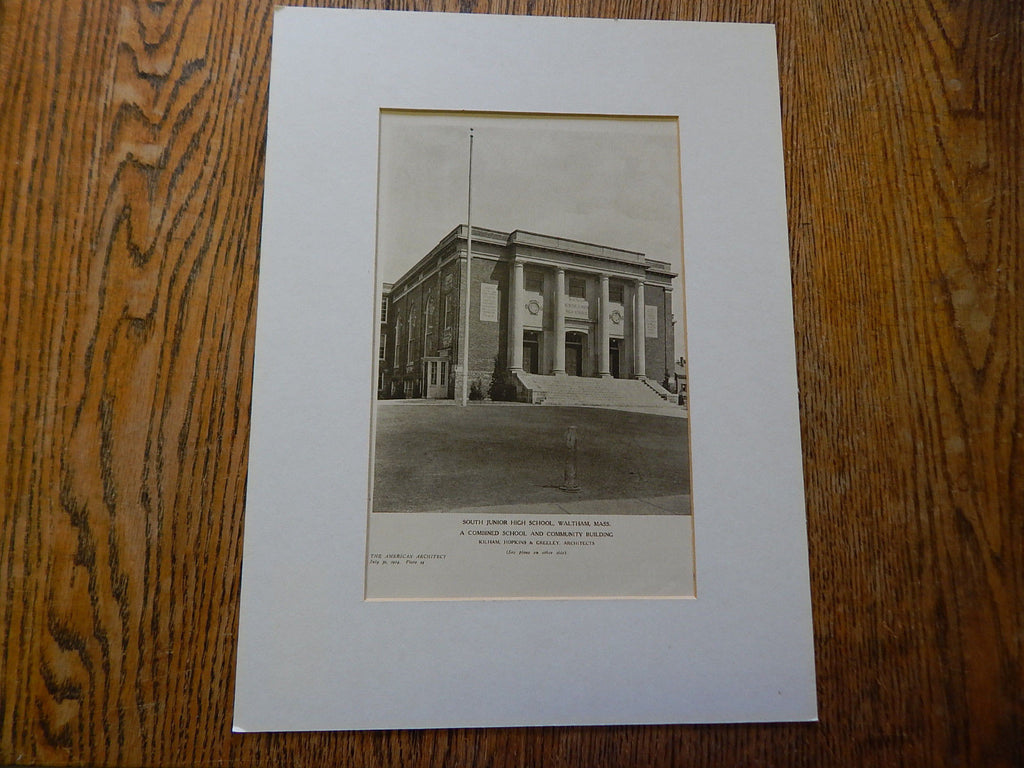 South Junior High School, Waltham, MA, 1924, Lithograph. Kilham, Hopkins & Greeley.