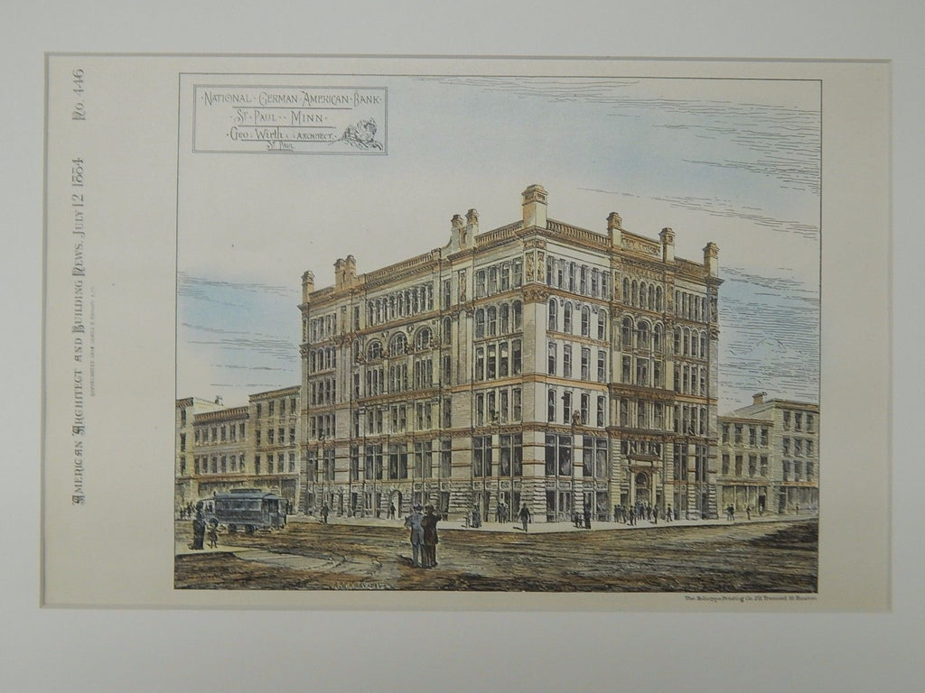 National German American Bank, St. Paul, MN, 1884, Original Plan. George Wirth.