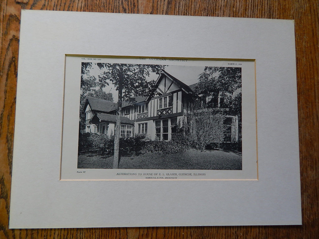 Exterior Alterations, House E.L. Glaser, Glencoe, IL, 1918. Marshall & Fox. Lithograph