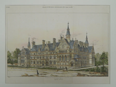 Connecticut Theological Institute in Hartford CT, 1879. F. H. Kimball. Original