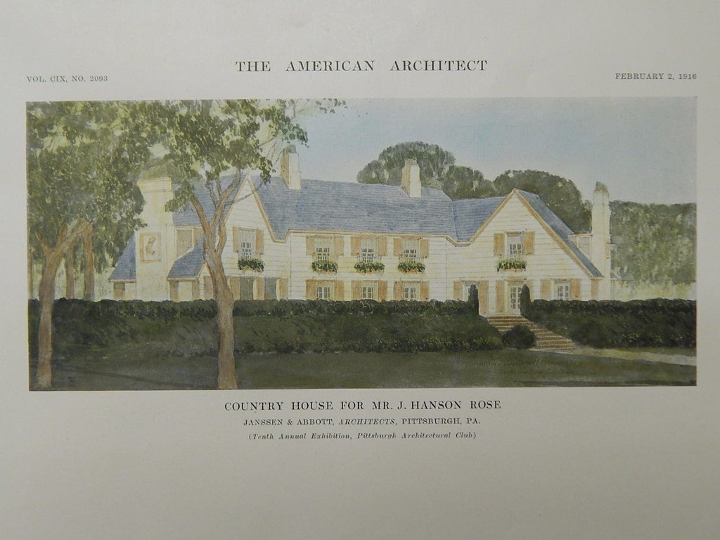 Country House for Mr. J. Hanson Rose, Pittsburgh, PA, 1916, Original Plan. Janssen & Abbott.