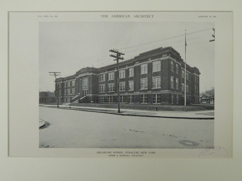 Delaware School, Syracuse, NY, 1921, Lithograph. James A. Randall.