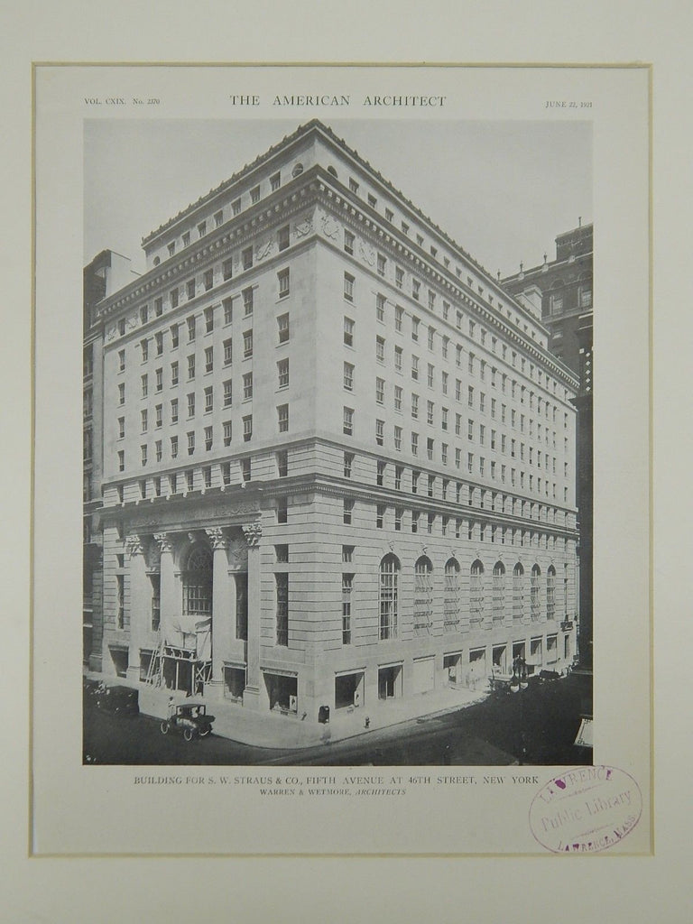 Building for S. W. Straus & Co., Fifth Avenue, New York, NY, 1921, Photogravure. Warren & Wetmore.