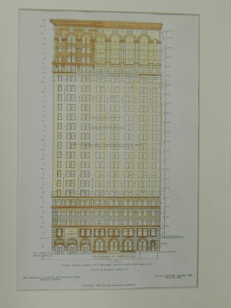 U.S. Express Co.'s Bldg., Trinity Place, New York, NY, 1906, Original Plan.  Clinton & Russell