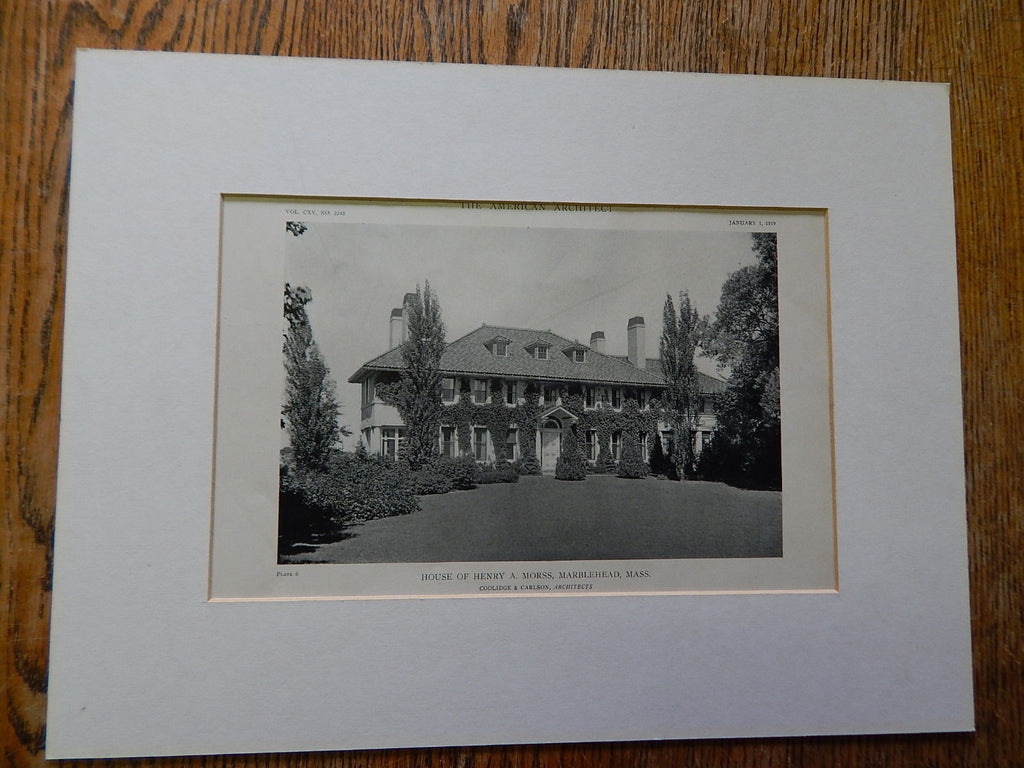 House of Henry A. Morss, Marblehead, MA, 1919, Lithograph. Coolidge & Carlson.