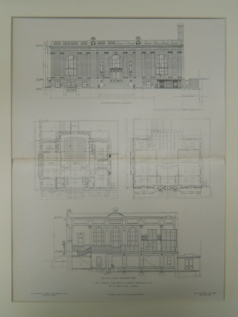 The Carroll Park Branch Library, Brooklyn, NY, 1905, Original Plan. W.B. Tubby & Bro.