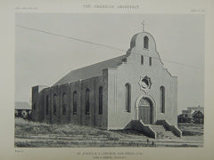 St. John's Roman Catholic Church, San Diego, CA, 1918, Lithograph. John S. Siebert.