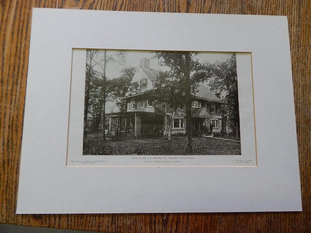 House of Mr. G.F. Shepard,JR.,Architect, Milton, MA,1906,Lithograph.