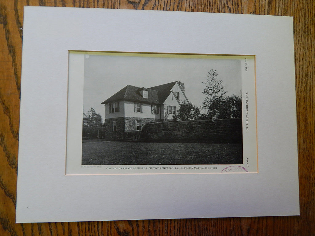 Cottage on Estate of Pierre S. DuPont, Longwood,PA.,1929, Lithograph, Martin.