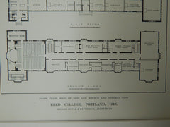 Floor Plan & View of Hall of Arts and Sciences, Reed College, Portland, OR, 1914. Doyle & Patterson.