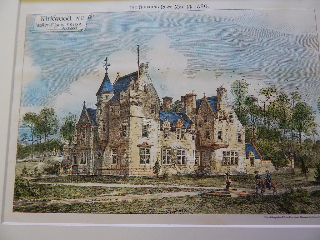Kirkwood N.B., UK, 1880, Original Plan, Walter Lyon, Architect.