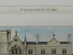St. Mary's Priory, West Brompton, London, England, 1880, Original Plan. J.A. Hansom & Son.
