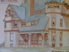 Suburban House for Mr. I. W. Allen at York, PA, 1889, Original Plan. B.F.Willis