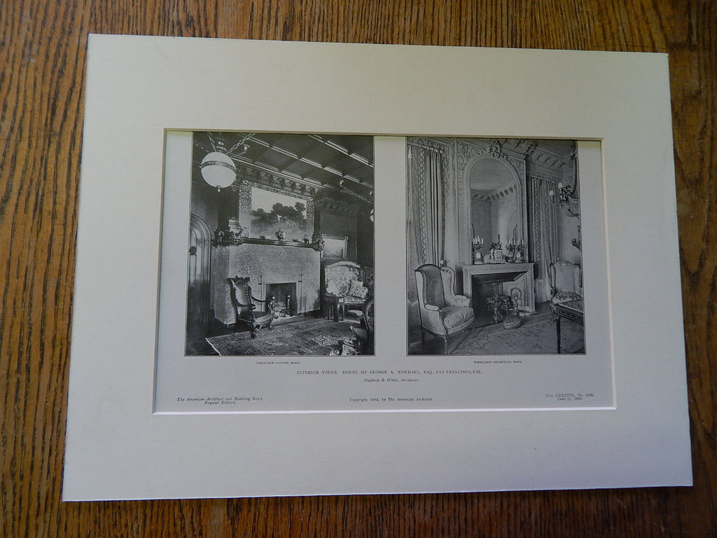 House of George Newhall,San Francisco,CA,1905, Lithograph. Maybeck & White.