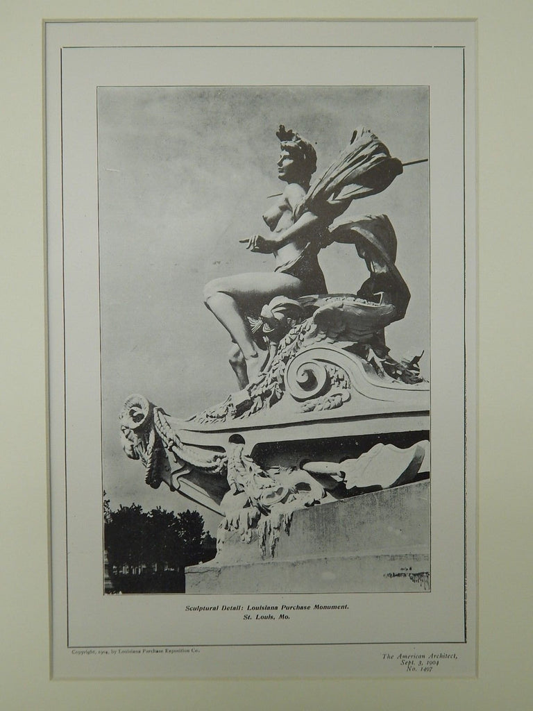 Sculptural Detail, Louisiana Purchase Monument, St. Louis, MO, 1904, Lithograph. E. L. Masqueray.