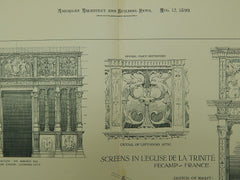 Screens in L'Eglise de la Trinite, Fecamp, France, 1899, Original Plan.