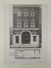 Garage of Andrew Carnegie, Esq., East 91st St., New York, NY, 1906, Lithograph. Whitfield & King.