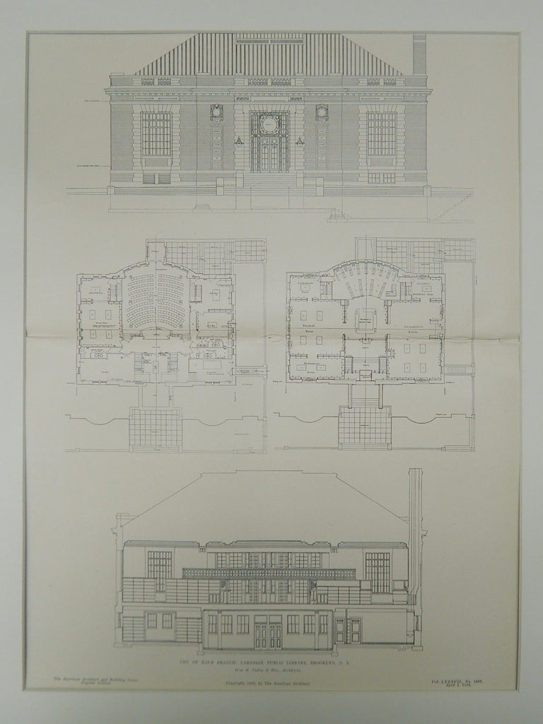 De Kalb Branch, Carnegie Public Library, Brooklyn, NY, 1905, Original Plan. Wm. B. Tubby & Bro.