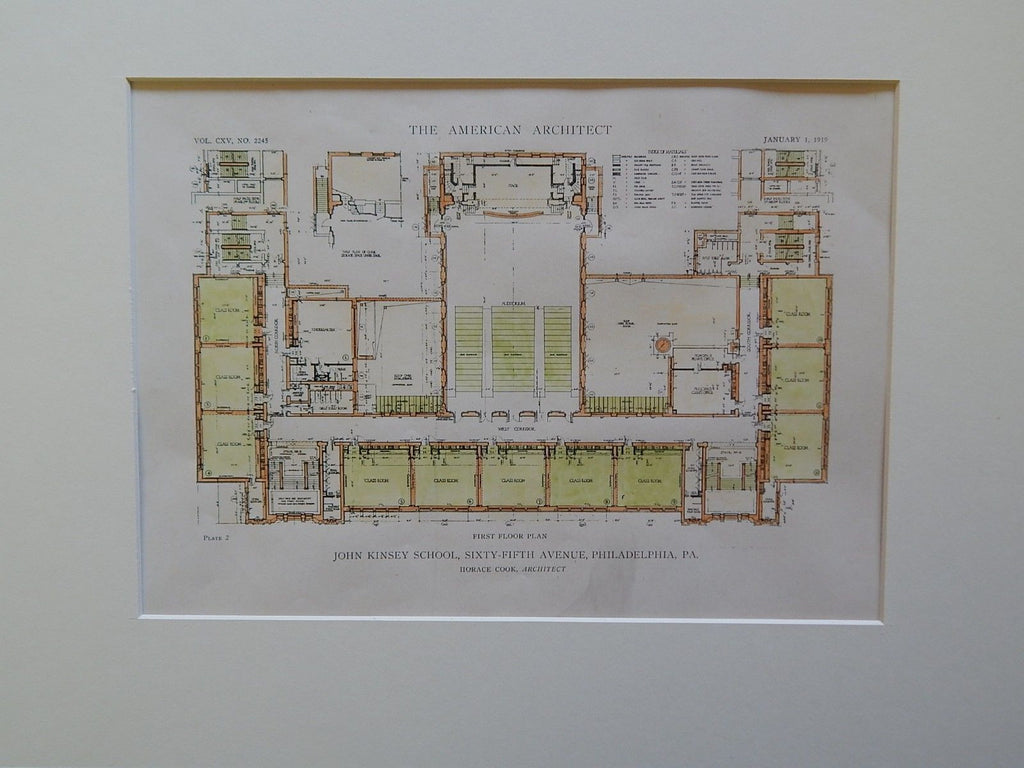 John Kinsey School, 65th Ave, Philadelphia, PA, 1919, Original Plan. Horace Cook.