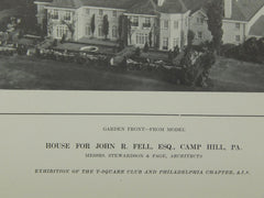 House for John R Fell, Camp Hill, PA, 1914, Lithograph. Stewardson & Page.