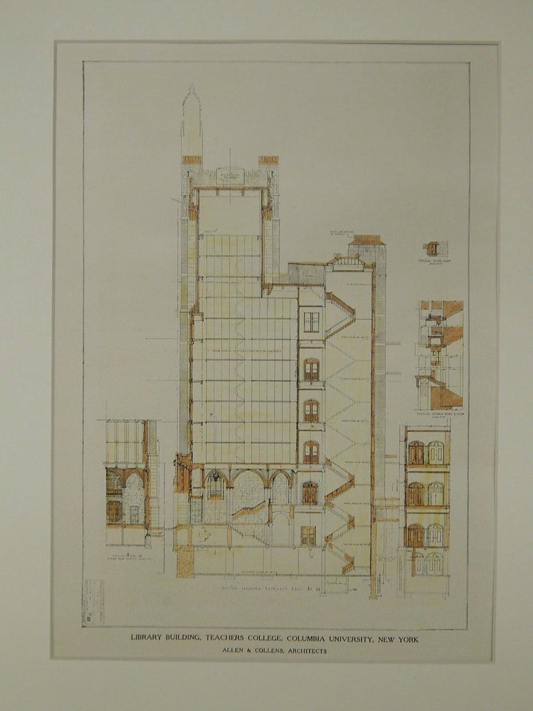 Library, Teacher's College, Columbia University, New York, NY, 1924, Orig. Plan. Allen & Collens.