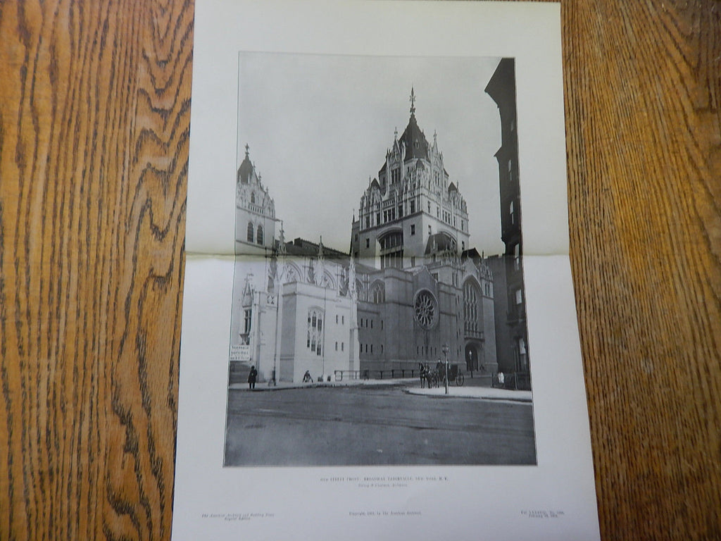 56th Street Front: Broadway Tabernacle,New York,NY, 1905, Lithograph. Barney & Chapman.