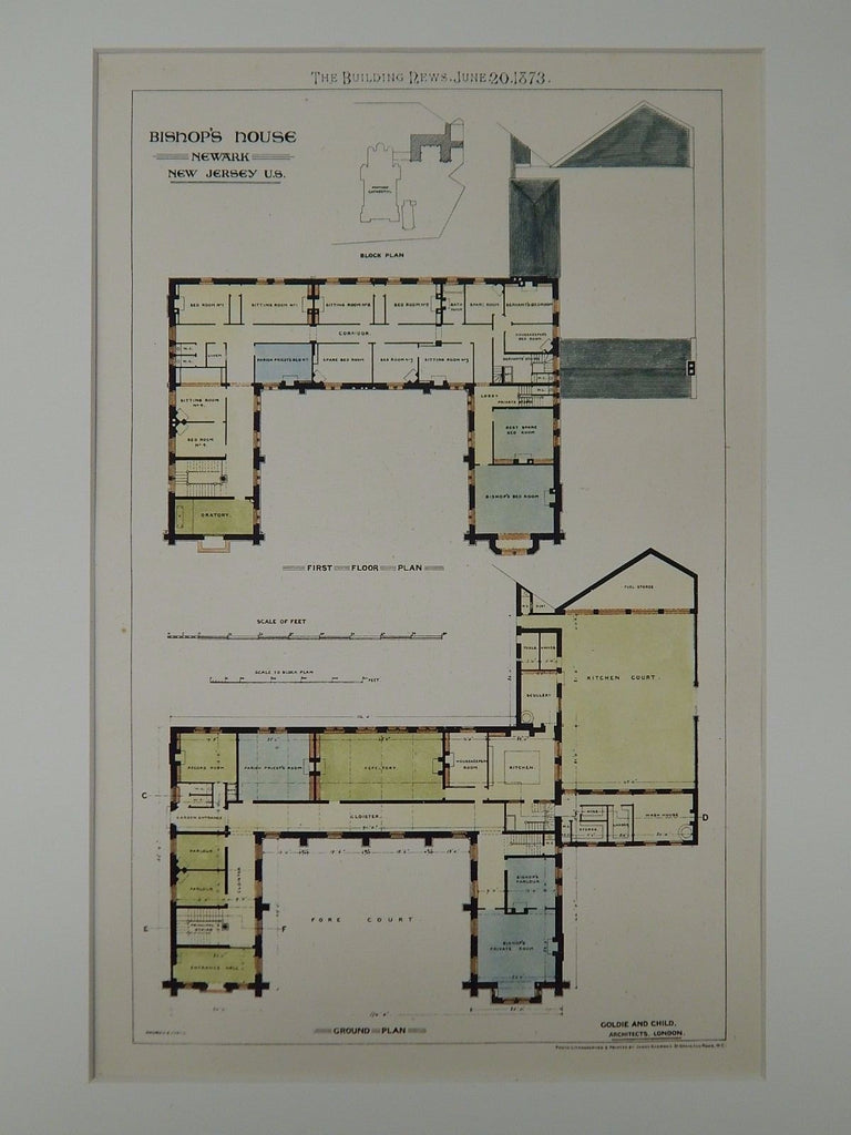 Bishop's House, Newark, NJ, 1873, Original Plan. Goldie & Child.